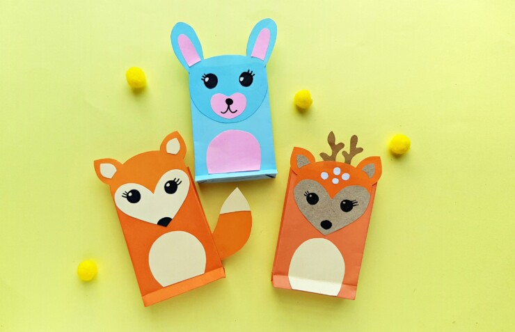 This Woodland Animals Paper Craft is a fun craft for kids - make these at a kids birthday party and use as their treat bags!