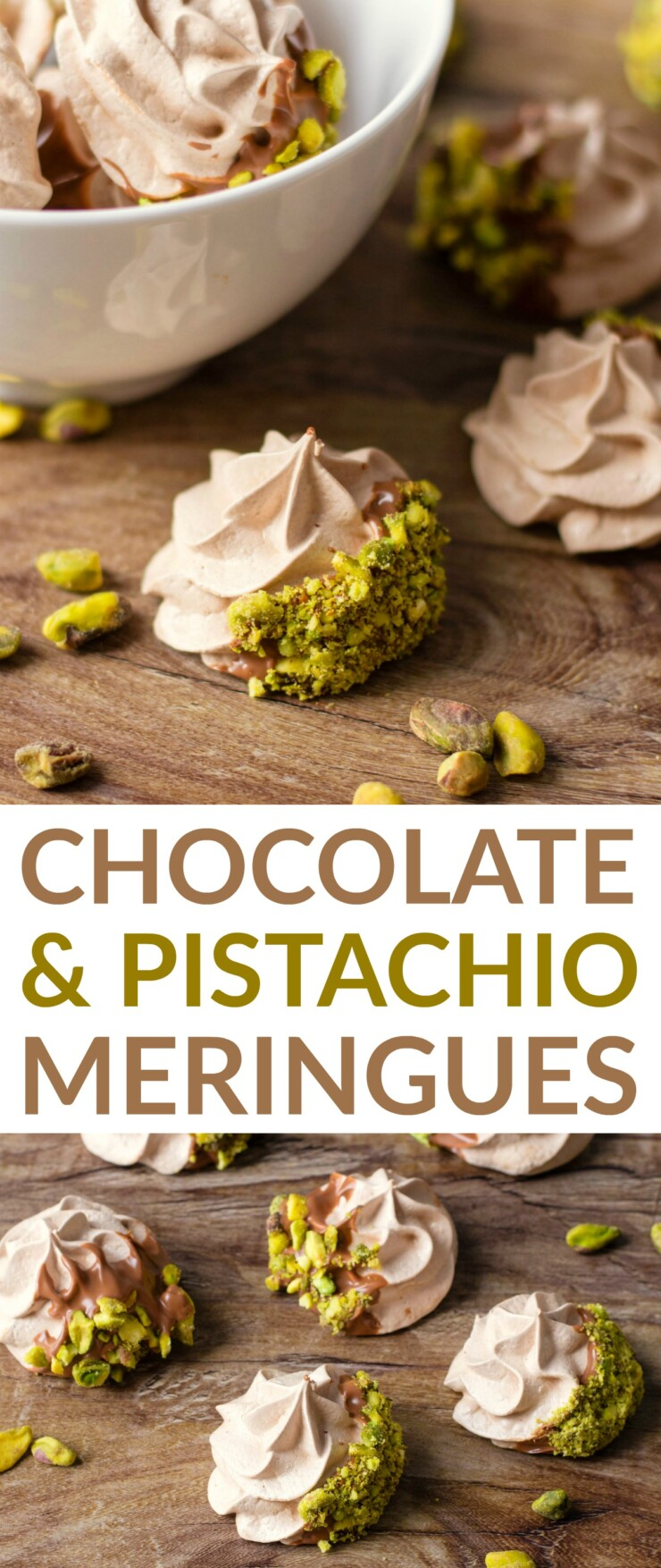 If you are looking for a real show-stopper dessert then these Chocolate & Pistachio Meringue Cookies are just what you are looking for. These melt in your mouth meringues are dipped in chocolate and sprinkled with pistachio bits.