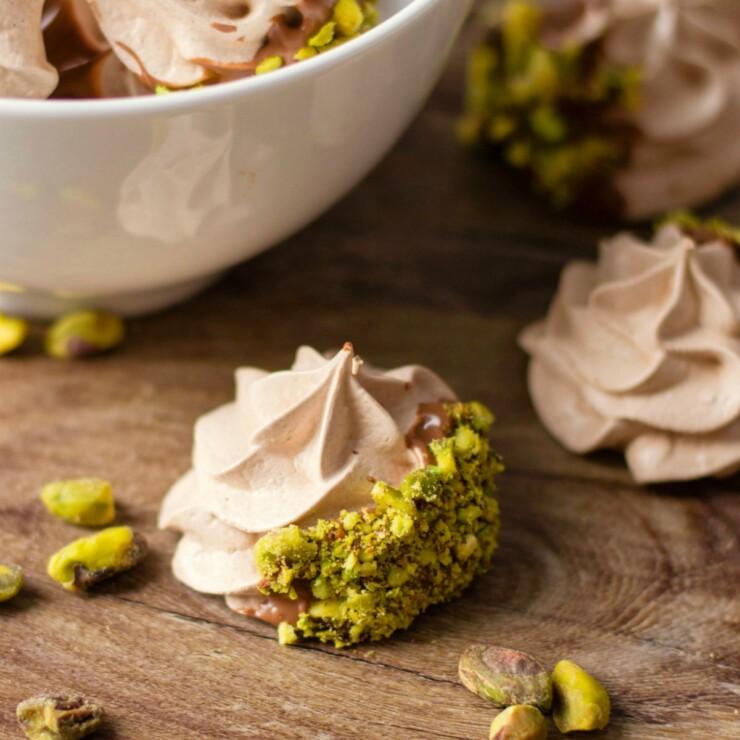 Chocolate & Pistachio Meringue Cookies