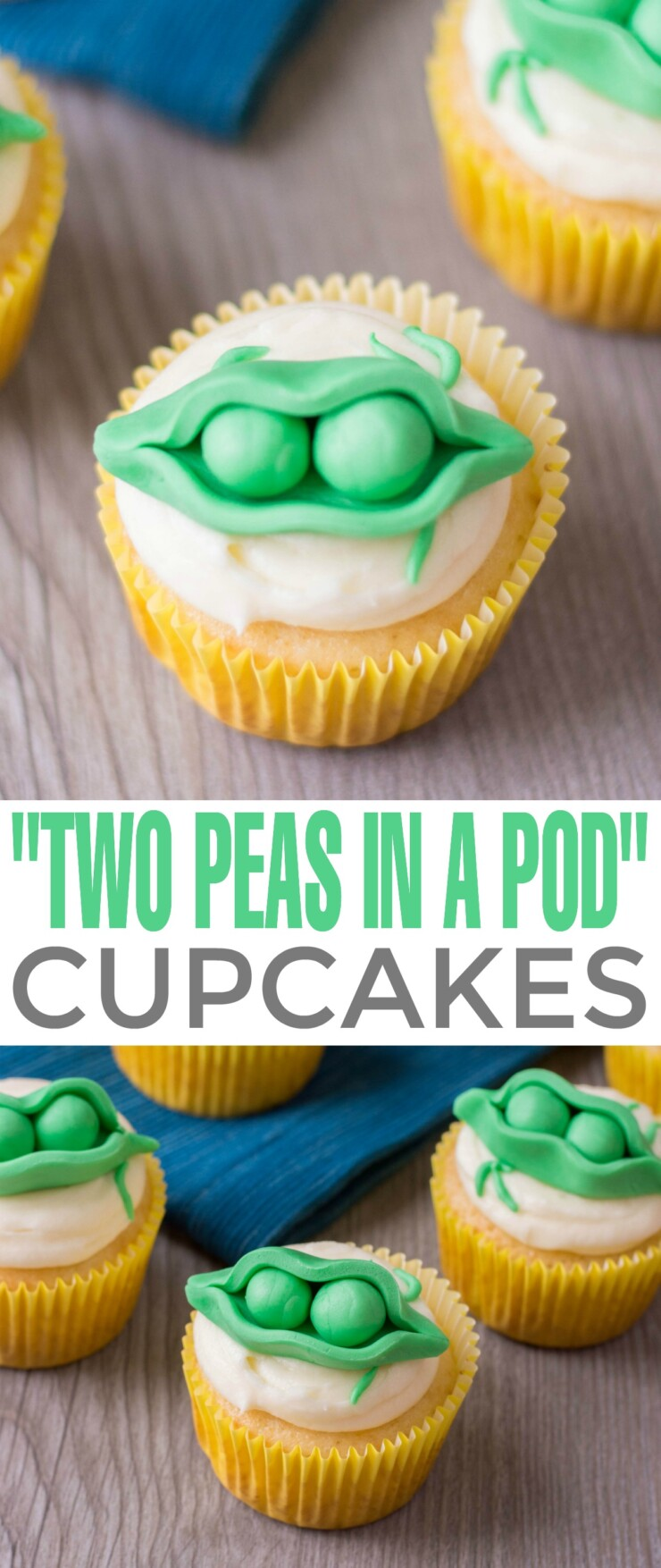 "Looking for cute ideas for a twin baby shower? These ""Two Peas in a Pod"" Cupcakes are perfect for a twin baby shower theme or first birthday theme."