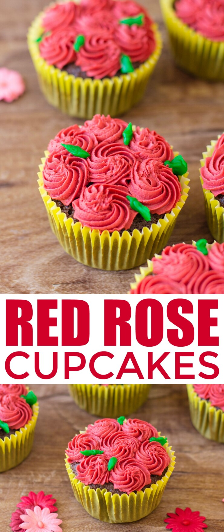 These Red Rose Cupcakes are a sweet treat perfect for garden parties, valentines day or just to show someone you care.