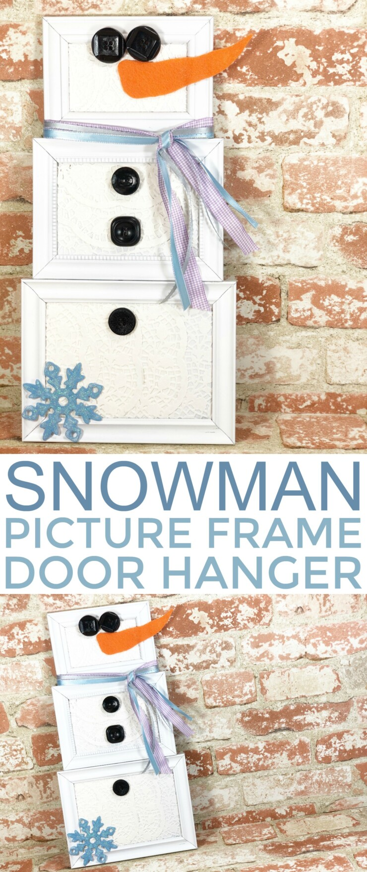 Simple picture frames and paper doilies transform into a cute as can be snowman to decorate your door all winter long! Make this Picture Frame Snowman Door Hanger in just about 30 minutes with supplies from any dollar store.