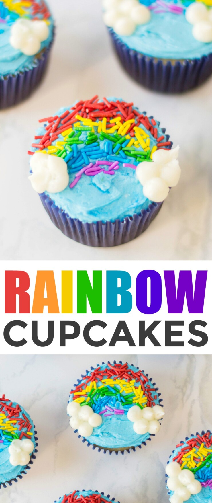 Rainbow sprinkle cupcakes are a cute and easy treat that are perfect for classroom St. Patrick's Day parties. Kids are sure to love these bright and colourful cupcakes!