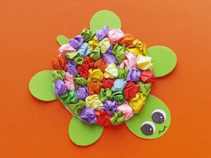 Crumpled Paper Turtle Kids Craft
