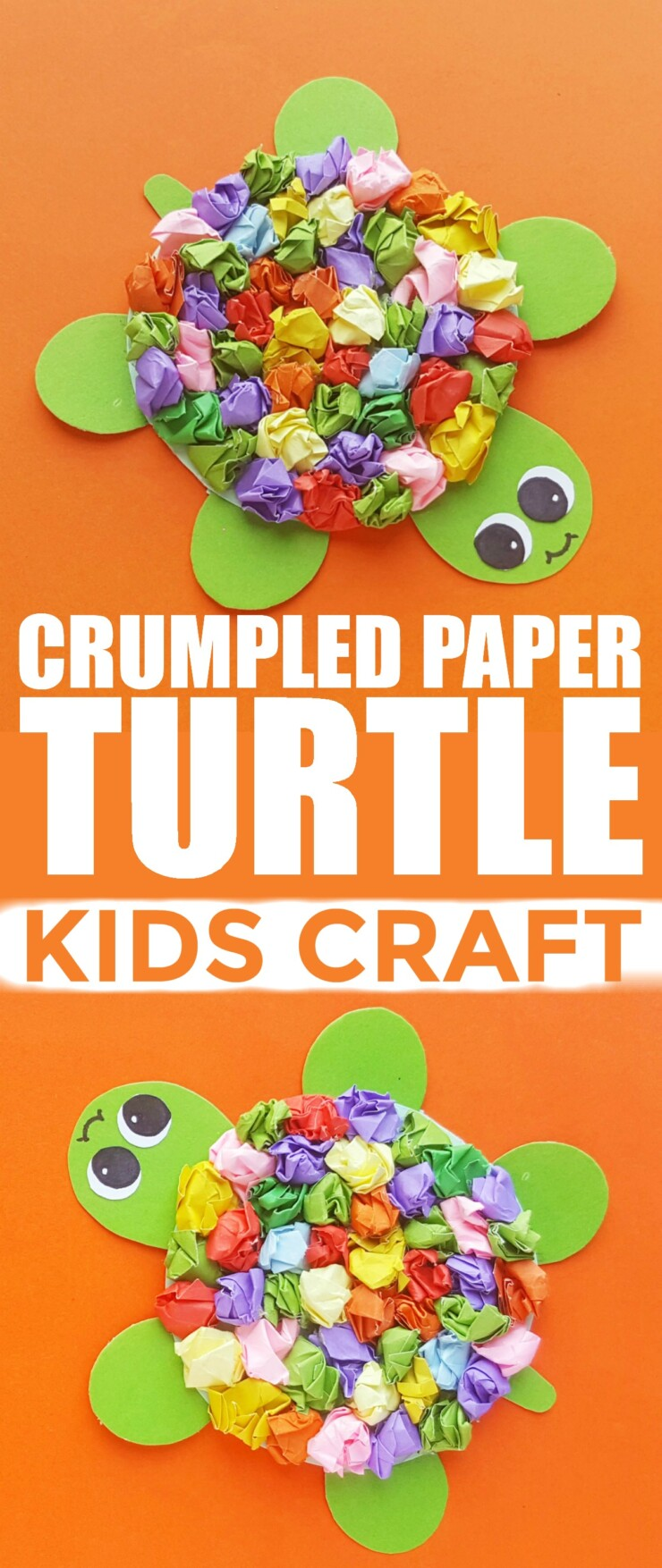 Slow down and make this adorable Crumpled Paper Turtle - it's a Kids Craft all ages can enjoy!