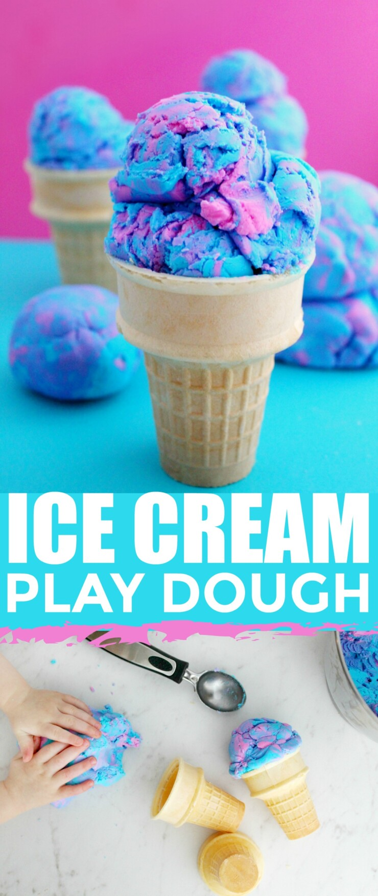 This 2-Ingredient Cotton Candy Ice Cream Play Dough is Gluten Free and edible. Kids will enjoy playing with this play dough with ice cream cones, an ice cream scoop, sundae bowls, maybe even sprinkles for some imaginative fun!