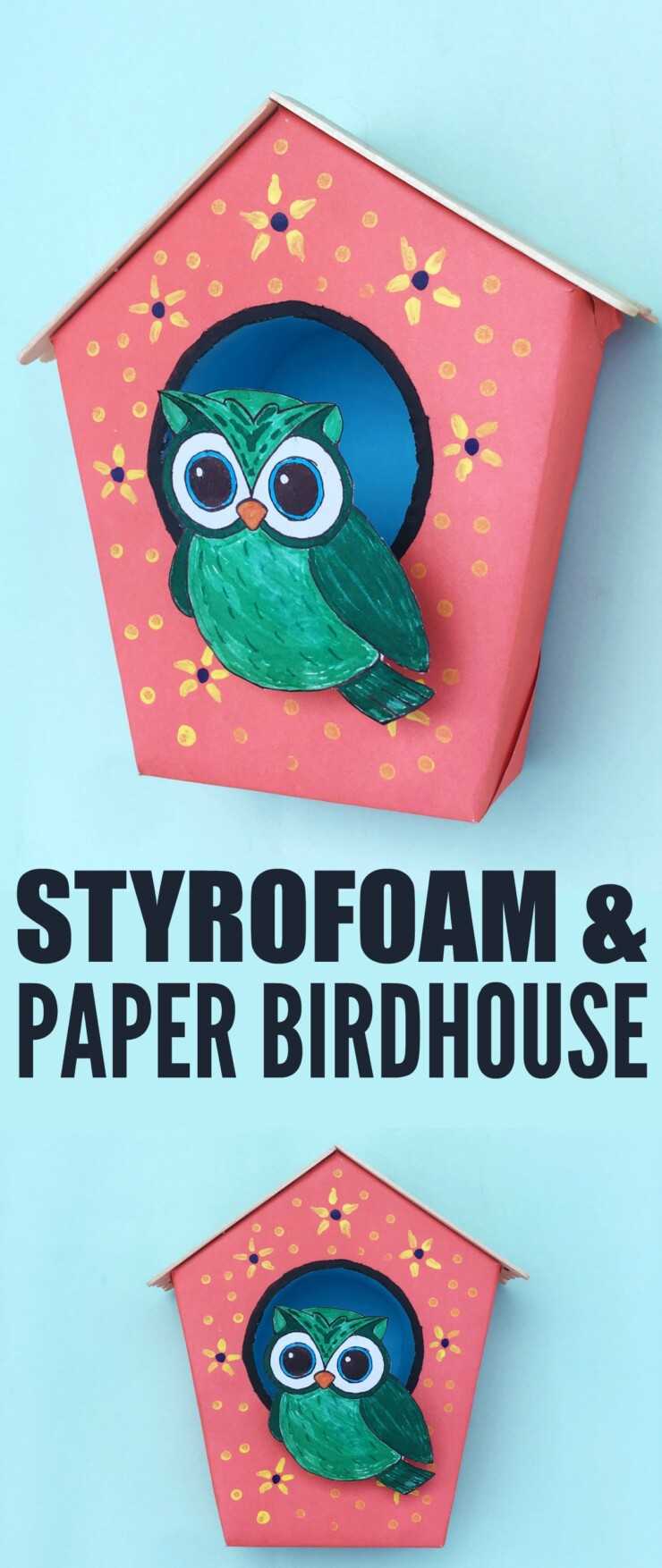 This fun kids craft sets your kids to repurpose old styrofoam to create an adorable Styrofoam And Paper Birdhouse. It's a cute paper craft for kids that all ages can enjoy. A perfect piece to decorate the outiside of a cardboard box home!