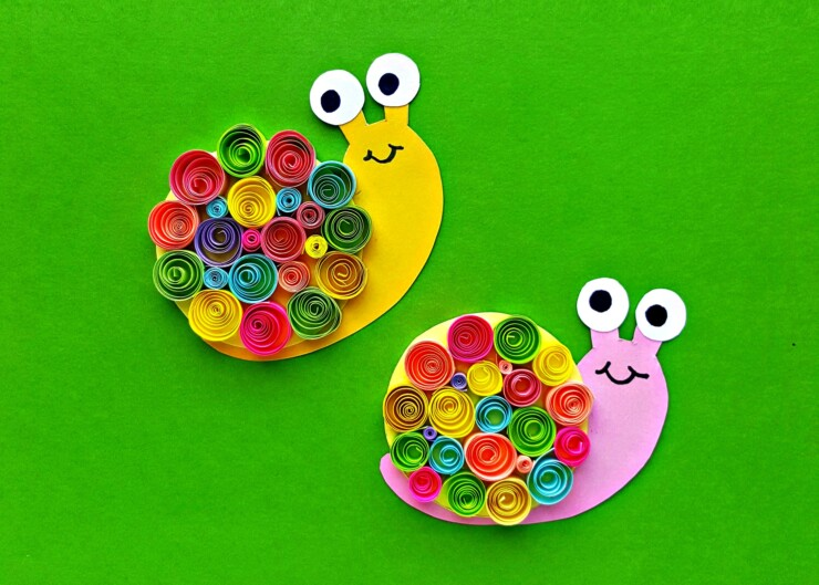 Kids will love making these cute little Quilled Paper Snails as their next craft project. Use them on cards, glue them onto popsicle sticks to make bookmarks, turn them into magnets... the possibilities for these little cuties are endless!