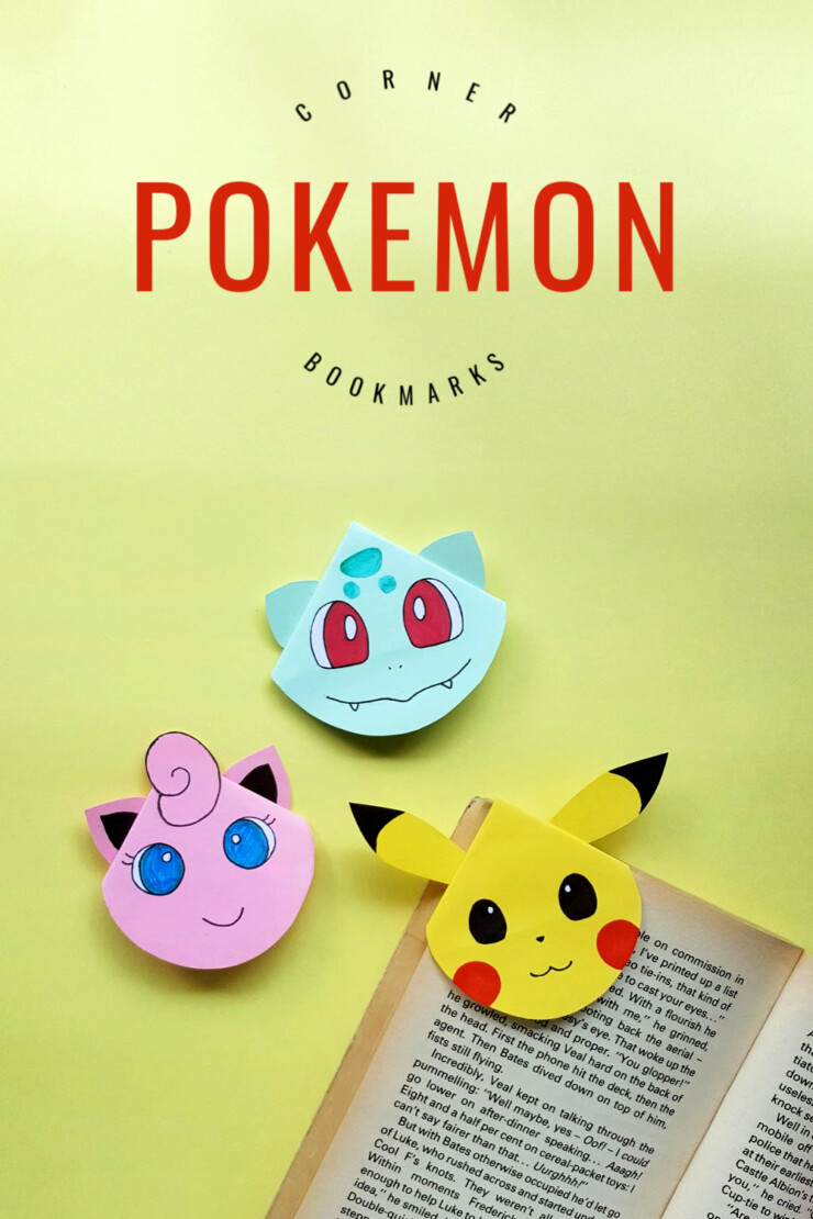These adorable Pokemon Corner Bookmarks are a great summer Pokemon craft for any Pokémon fan! This corner bookmark tutorial will allow your kids to make 5 Pokemon Corner Bookmarks. They will be able to create Pikachu, Jigglypuff, Bulbasaur, Evee, and Charmander bookmarks. Gotta catch em all!