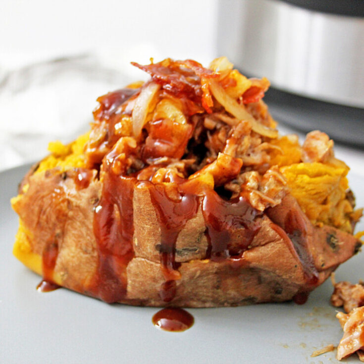 Instant Pot Pulled Pork Stuffed Sweet Potatoes with Apple Bacon Jam