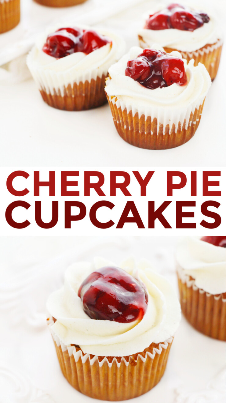 These Cherry Pie Cupcakes feature a decadent vanilla cinnamon cupcake filled with cherry pie filling and topped with vanilla cinnamon buttercream and even more cherry filling! These cupcakes are bursting with all the flavours of a delicious cherry pie!