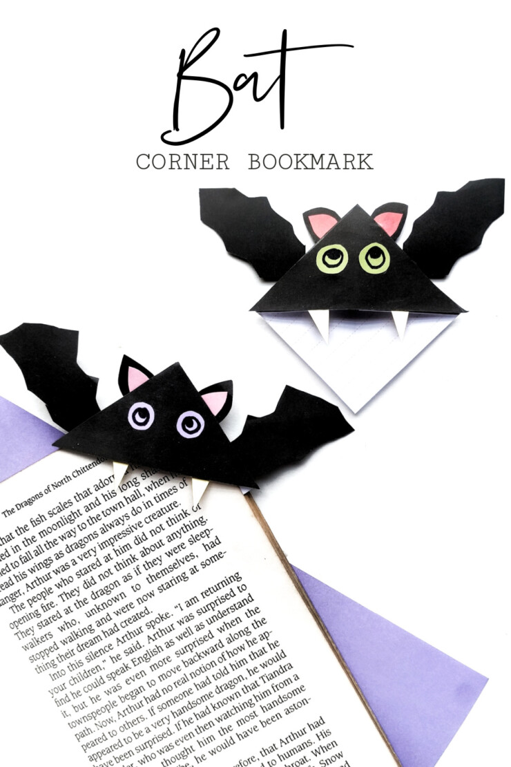 What could be more perfect for a spooky book than these easy to make origami bat corner bookmarks for your favourite Halloween story?