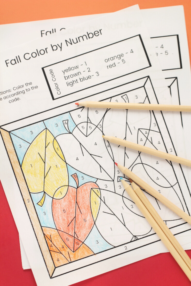 Children will enjoy these celebrating a new season with these Fall Colour by Number Free Printable Sheets.