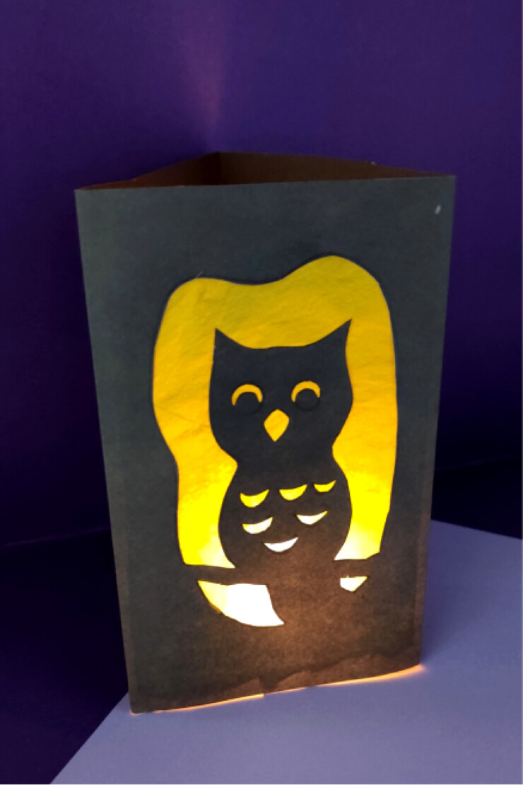 This Owl Halloween Luminary craft is a fun way for kids to make their own Halloween decor. Make this Owl Luminary easily with the free printable template or let your kids get really creative and make their own silhouette design for their Halloween luminary.