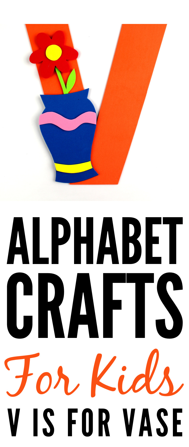 This week in my series of ABCs kids crafts featuring the Alphabet, we are doing a V is for Vase craft. These Alphabet Crafts For Kids are a fun way to introduce your child to the alphabet.