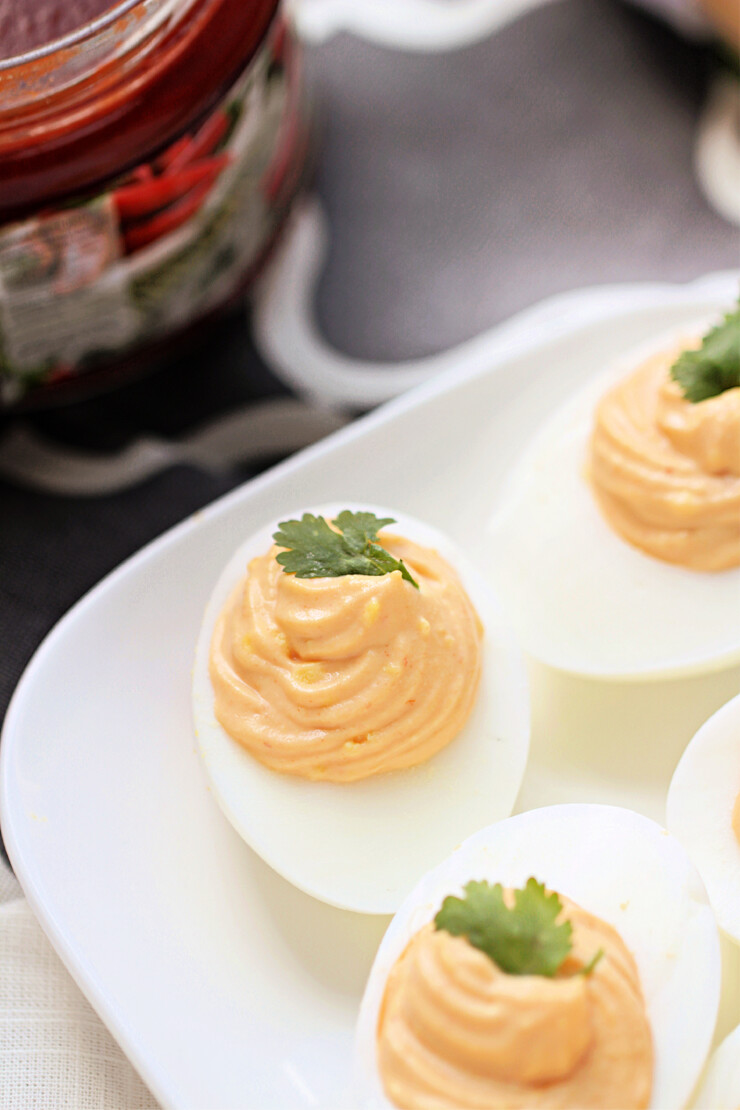 Classic Deviled Eggs get a spicy twist in this Moroccan Deviled Eggs Recipe. A touch of hot harissa and Cilantro add a bit of punch for an addictive flavour.