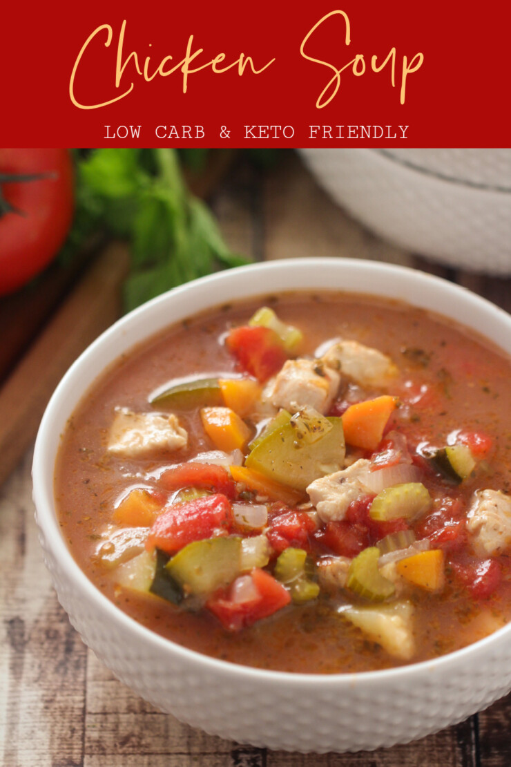 A delicious homemade low carb chicken soup recipe from scratch. This homemade chicken soup is loaded with fresh vegetables and chicken, it's a keto chicken soup the whole family can enjoy.