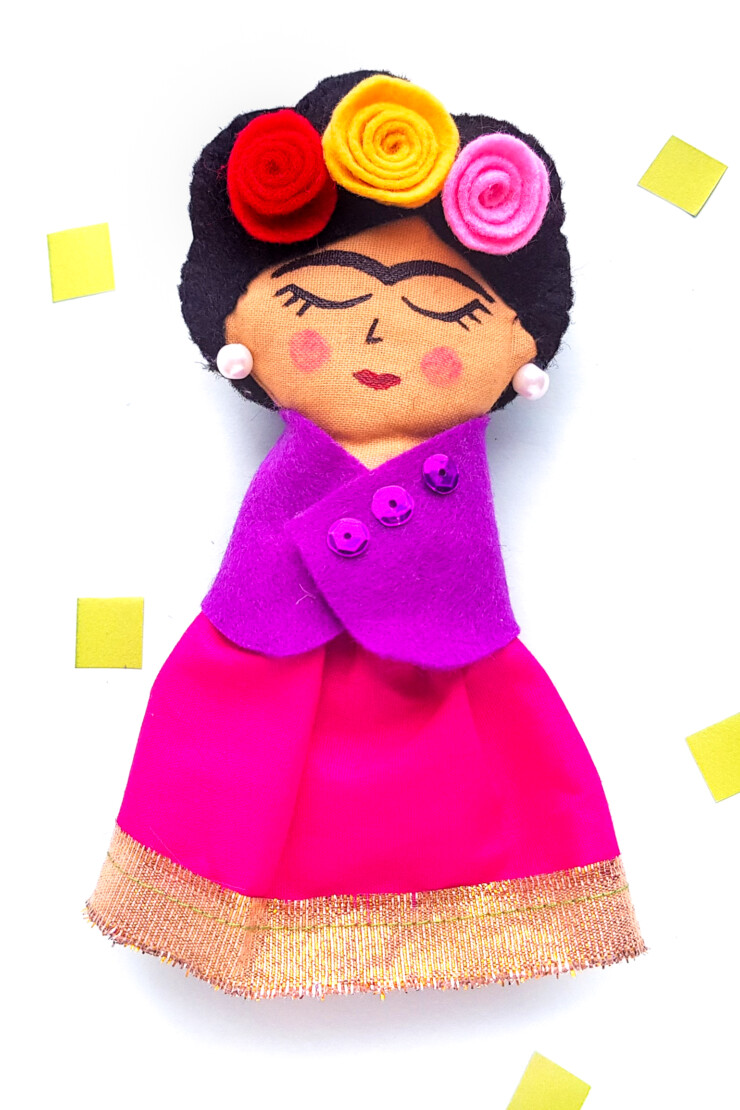 This DIY Frida Kahlo Rag Doll is an excellent beginner sewing project that includes an easy to use free rag doll pattern.
