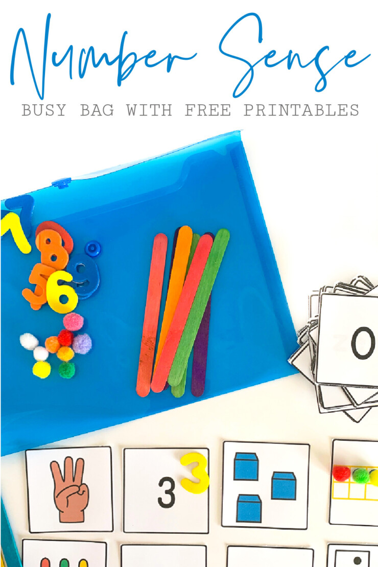 Make this fun number sense busy bag for your preschool or kindergarten aged kids to help them practice counting and numbers! Great for quiet time or centres! Free printable number cards are included in the tutorial!