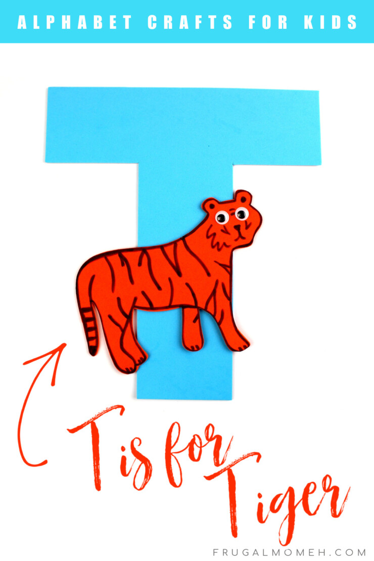 This week in my series of ABCs kids crafts featuring the Alphabet, we are doing a T is for Tiger craft. These Alphabet Crafts For Kids are a fun way to introduce your child to the alphabet.