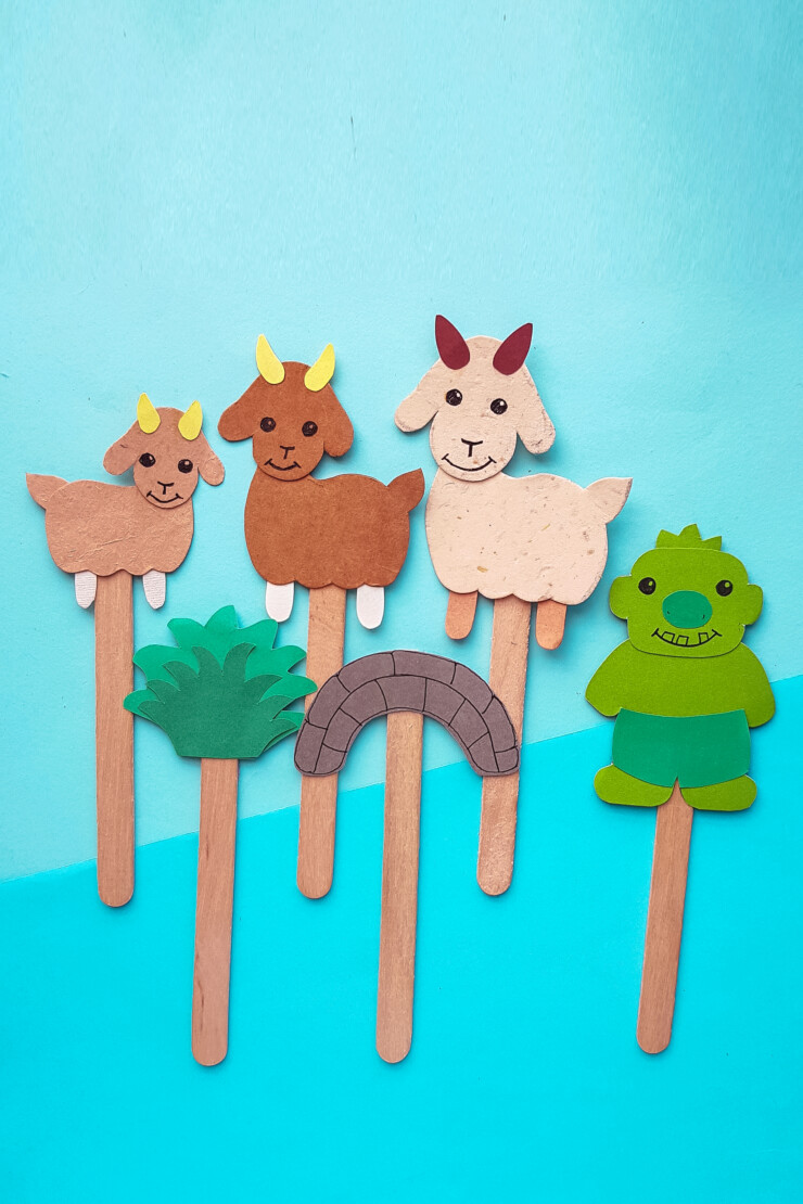 Make The 3 Billy Goats Gruff Story Puppets with just a few craft supplies you probably have on hand and get ready to retell the classic story!