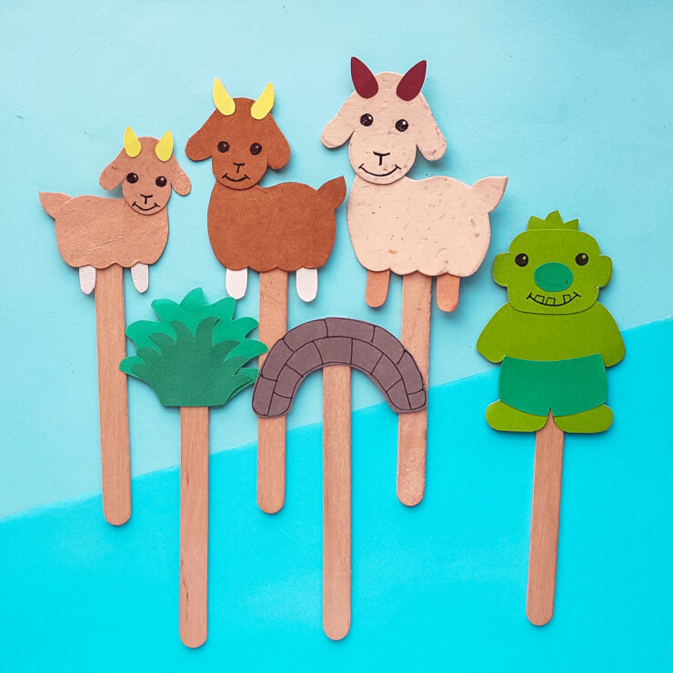 The 3 Billy Goats Gruff Story Puppets
