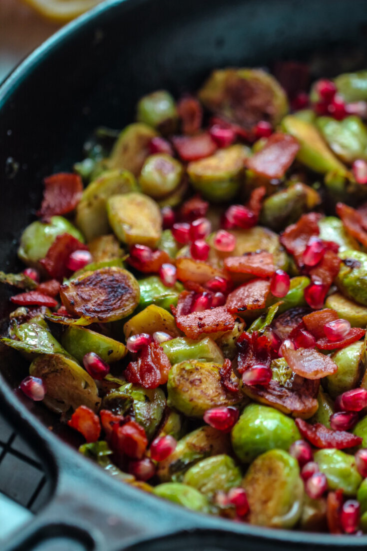 Pan Roasted Brussels Sprouts with Bacon & Pomegranate