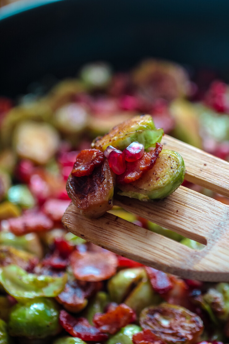 Pan Roasted Brussels Sprouts with Bacon & Pomegranate makes for a tasty holiday side dish that works just as easily for a weeknight side. You won't want to wait until Christmas or Thanksgiving dinner to serve these brussels sprouts!