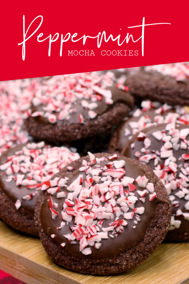 Tender chocolate cookies get a festive kick in these Peppermint Mocha Cookies - the perfect treat for any Christmas cookie tray!