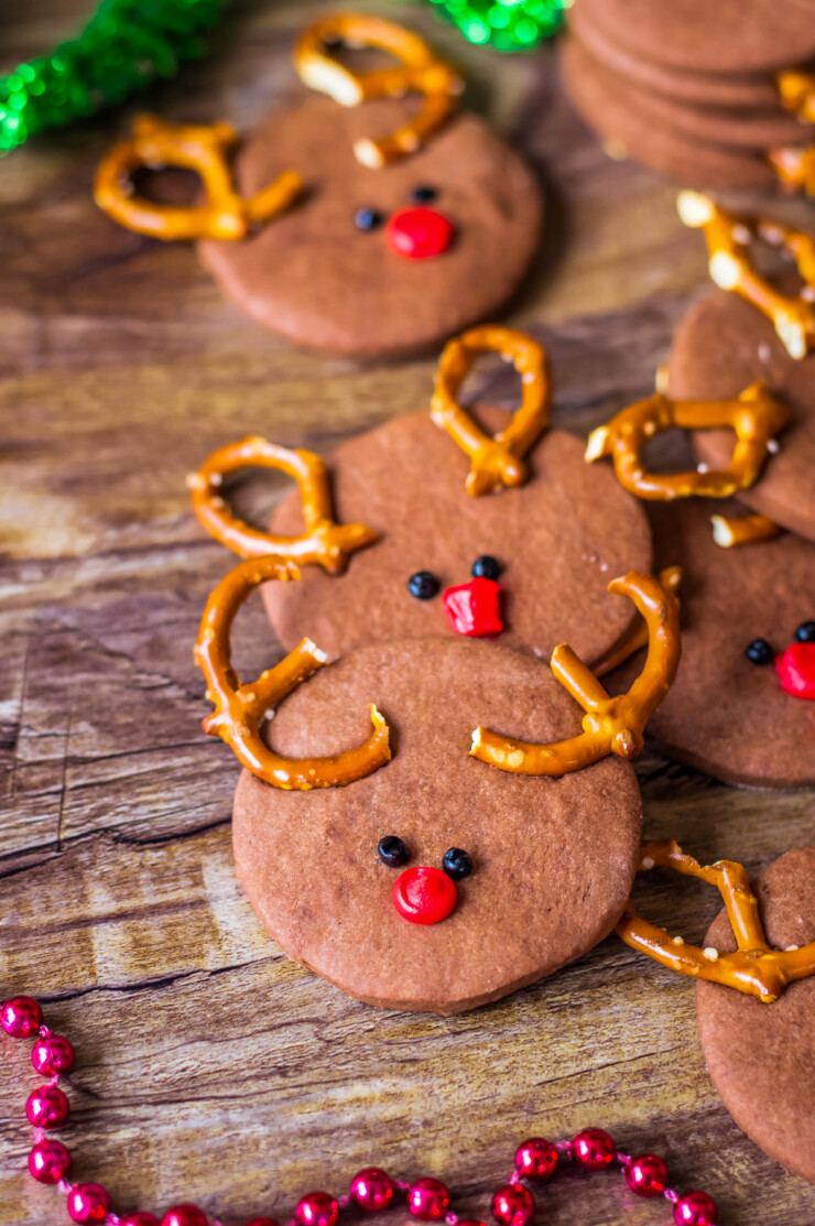 Kids will absolutely love seeing these Rudolph Chocolate Sugar Cookies on your Christmas cookie tray this year.