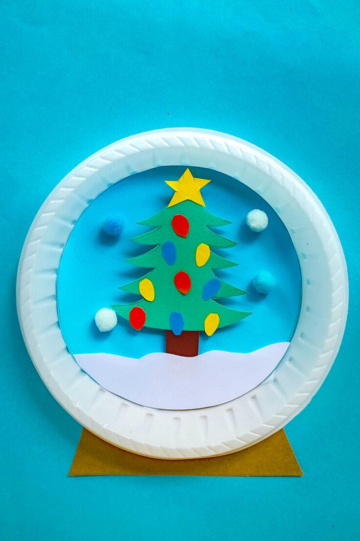 Christmas Tree Paper Plate Snow Globe