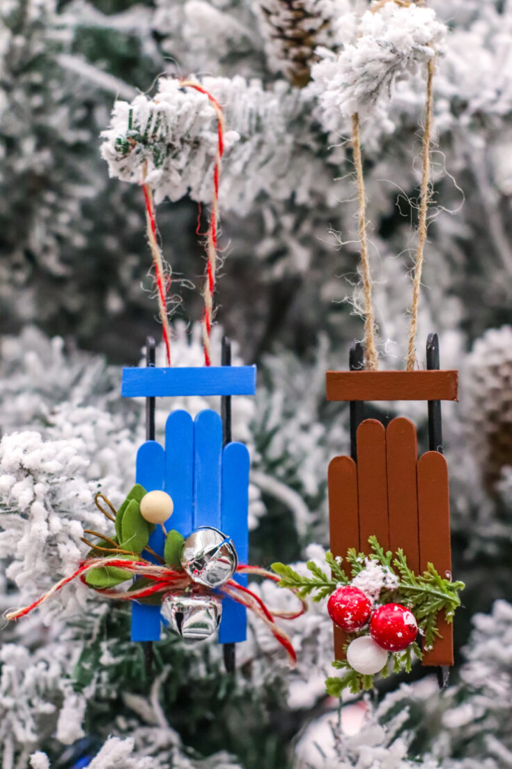 Wooden Sled Ornament Craft