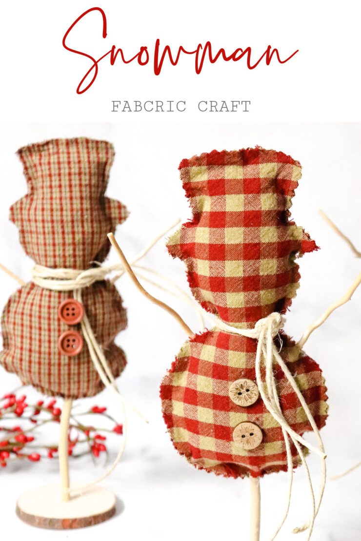 This no-sew fabric snowman craft is easy enough for anyone to make their own rustic winter display thanks to the free printable pattern.