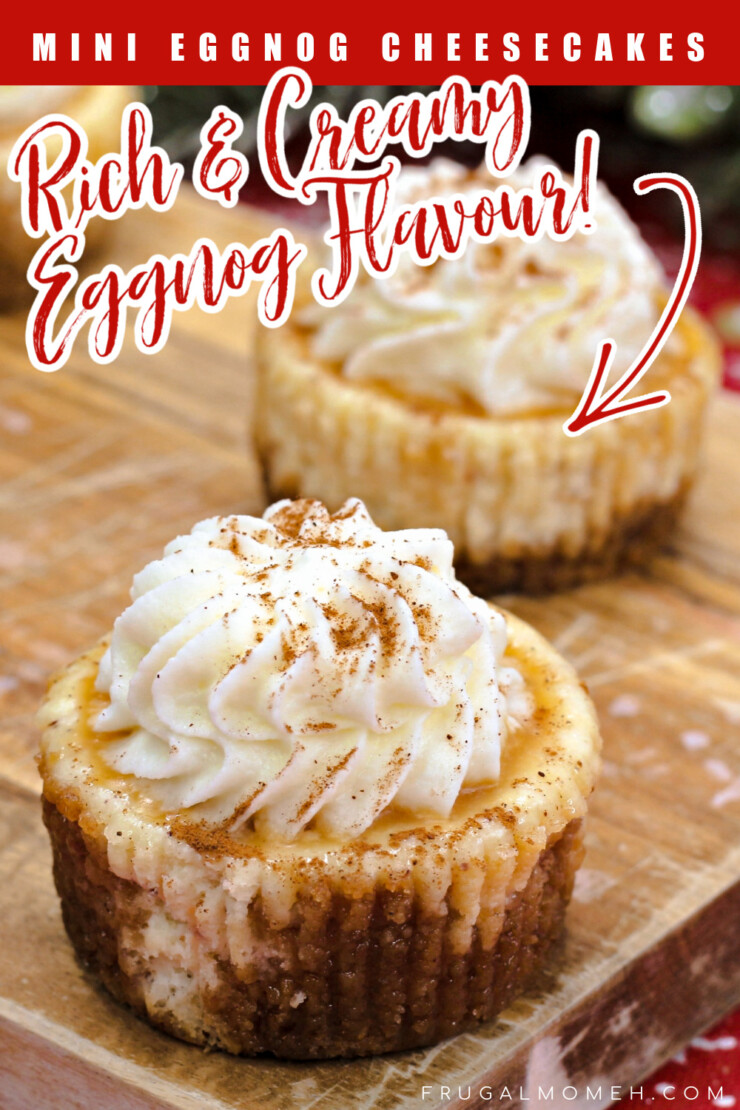 Rich and creamy, these mini eggnog cheesecakes are full of festive flavour - the perfect addition to any Christmas dessert table.
