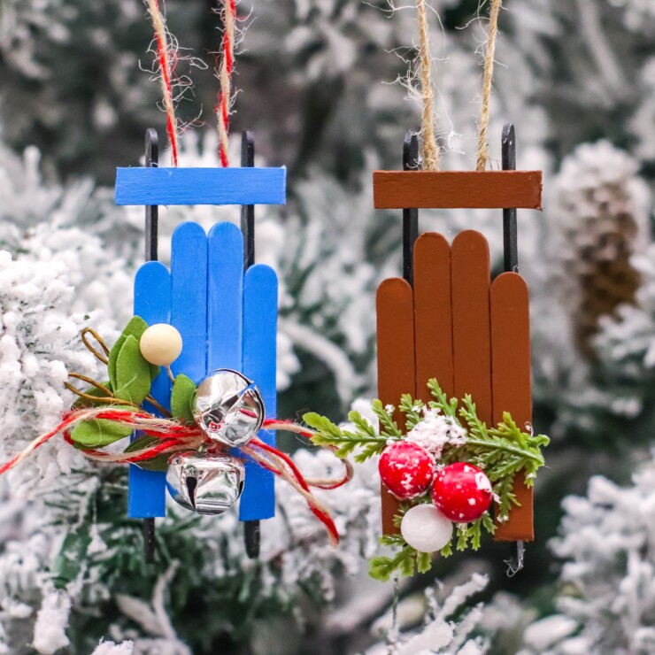 Wooden Sled Popsicle Stick Ornaments