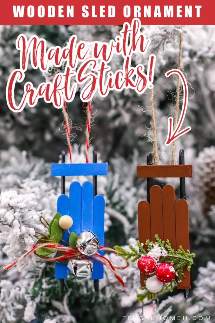 This Wooden Sled Popsicle Stick Ornament Craft is made with craft sticks and other basic supplies for an adorable Christmas tree ornament.