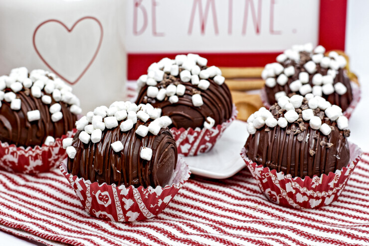 Make classic Hot Chocolate Bombs the easy way. Then drop them into a mug, pour over with hot milk and enjoy the rich chocolate flavour.