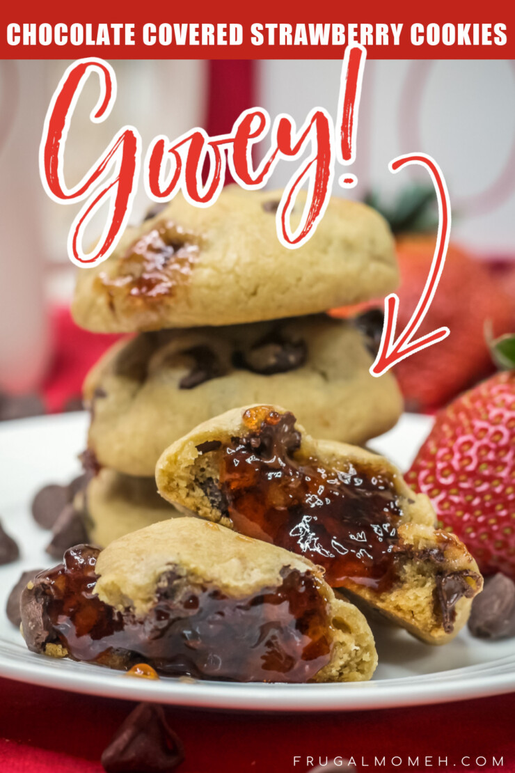 Classic chocolate chip cookies are filled with gooey strawberry jam in this Chocolate Covered Strawberry Cookies recipe.