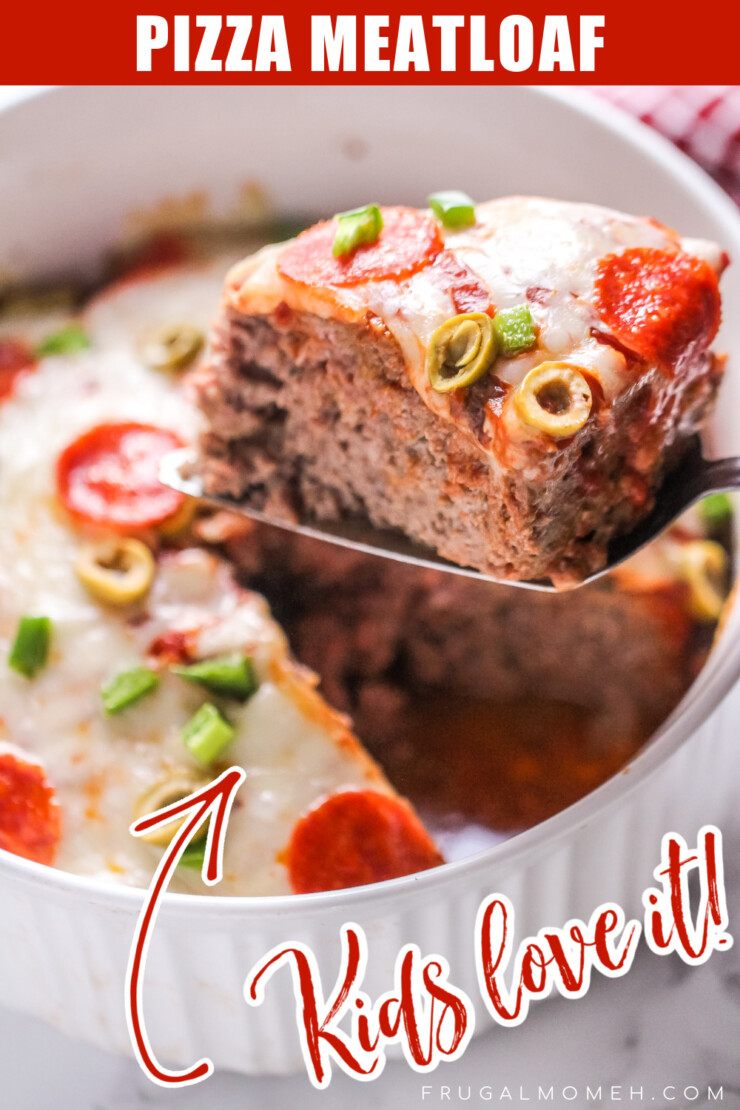 This pizza meatloaf is fun and flavourful - ground beef is combined with all of your favourite pizza toppings for a kid friendly meal.