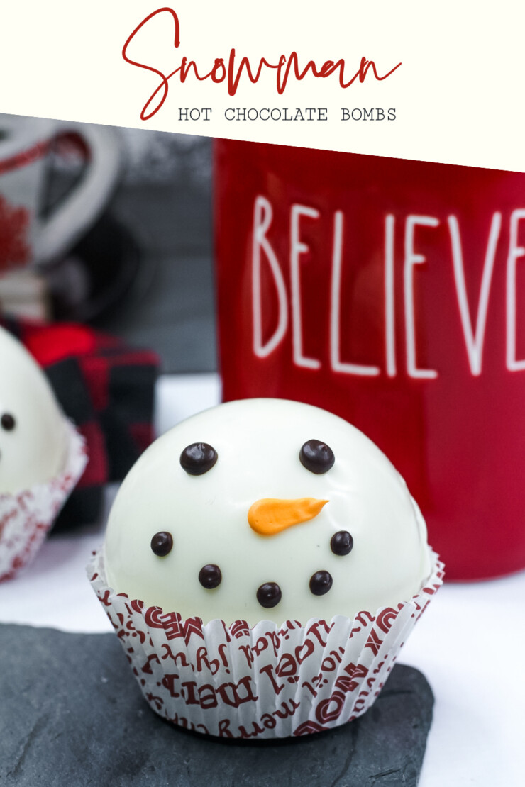 Make the cutest Snowman Hot Chocolate Bombs the easy way. Then drop them into a mug, pour over with hot milk and enjoy a rich hot chocolate.