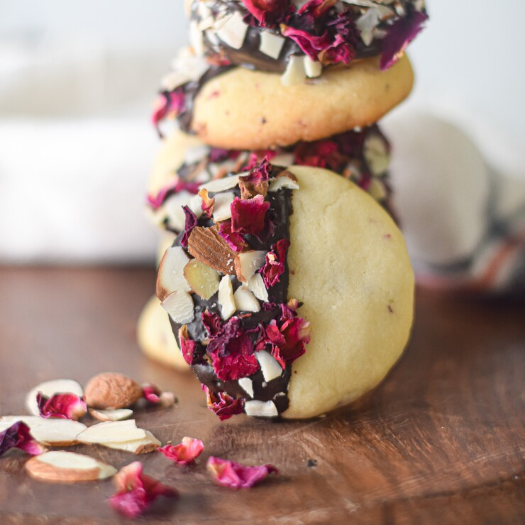 Vanilla & Rose Shortbread Cookies