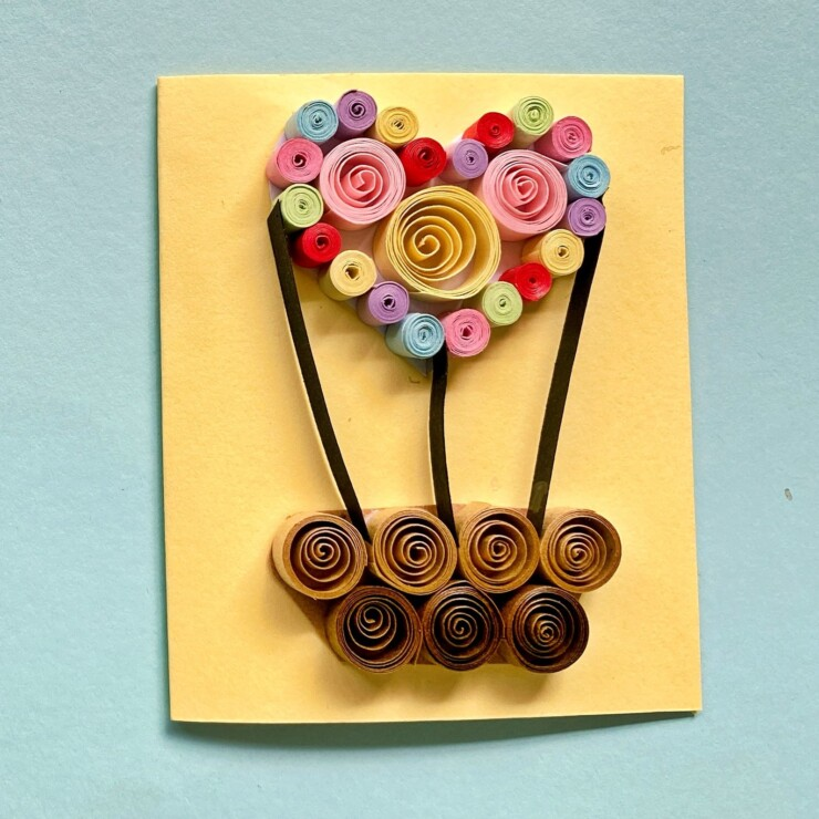 Quilled Hot Air Balloon Valentine's Day Card
