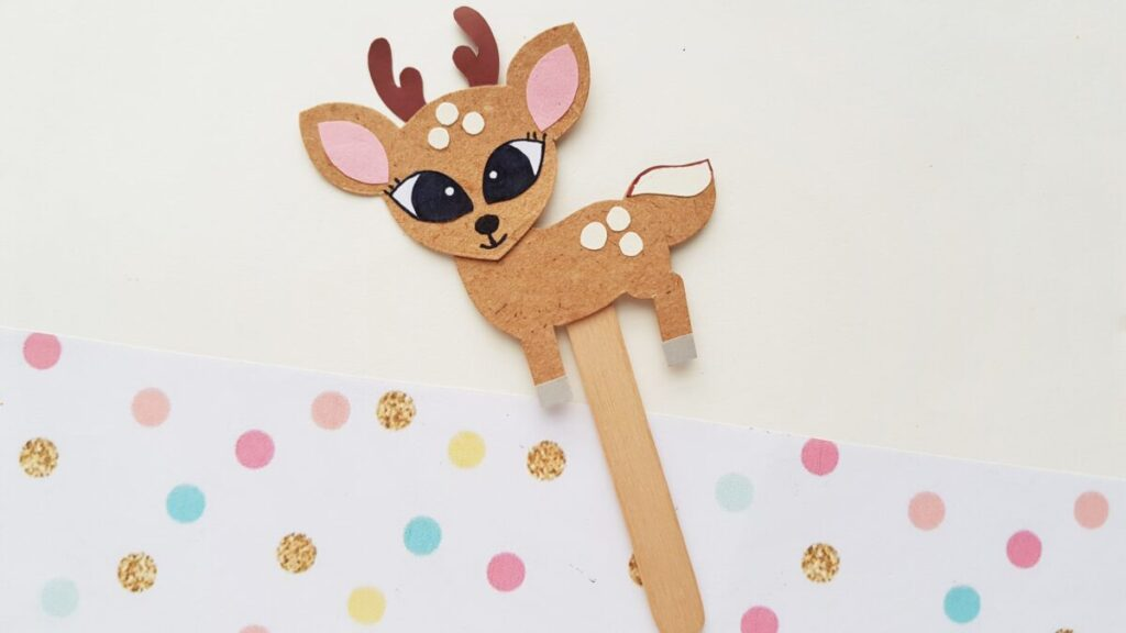 This Papercraft Deer Puppet is an easy kids paperfcraft animal project with a free papercraft template to help you make this cute kids craft.