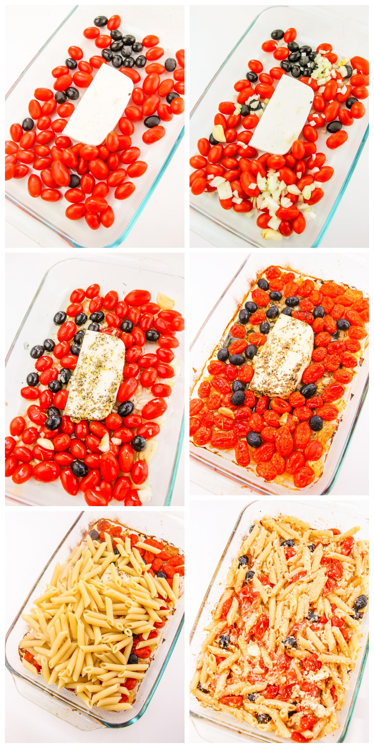 Process Photos of baking Baked Feta Pasta,