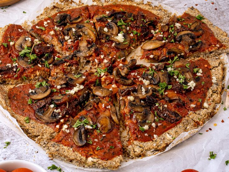 Vegan Cauliflower Crust Pizza with Mushrooms