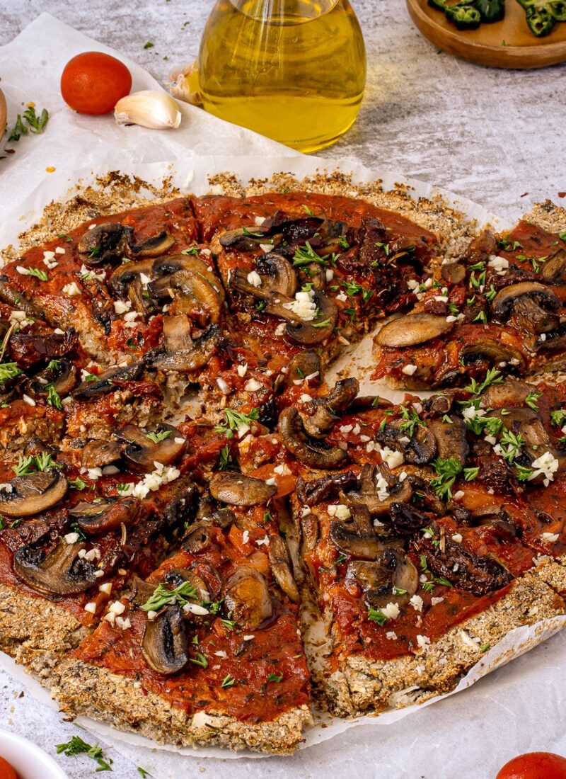Vegan Cauliflower Crust Pizza with Mushrooms