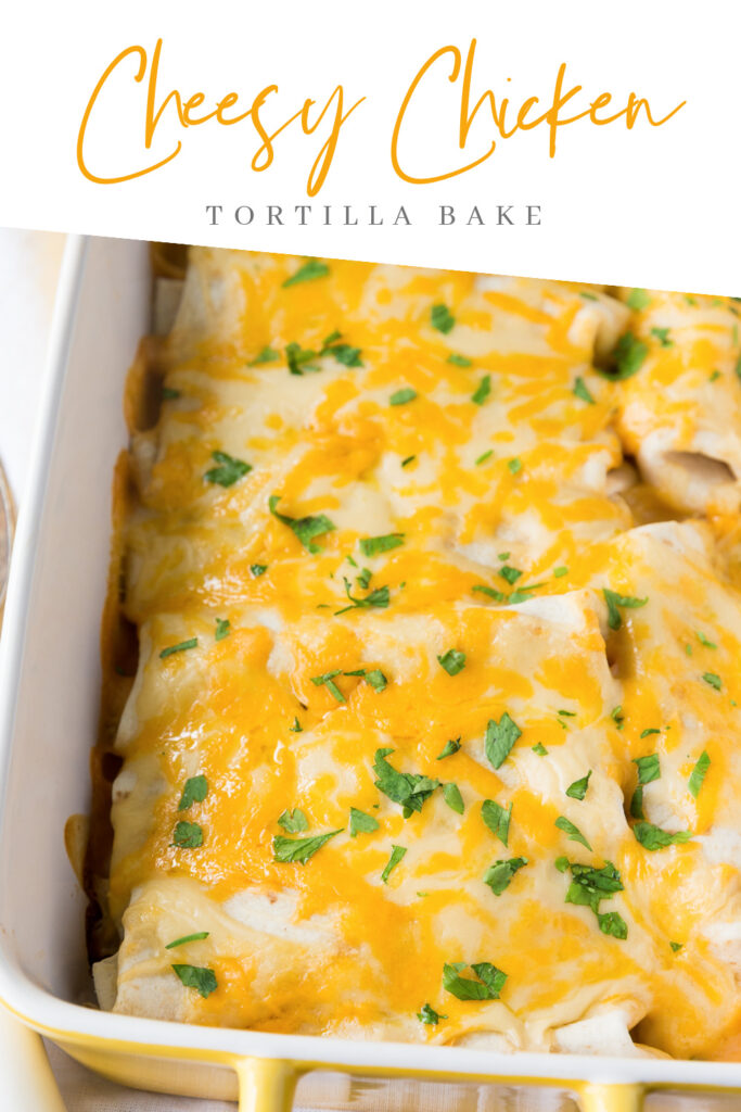 This Cheesy Chicken Tortilla Bake is an easy dinner recipe filled with delicious cheese sauce and chicken. It is also inexpensive!