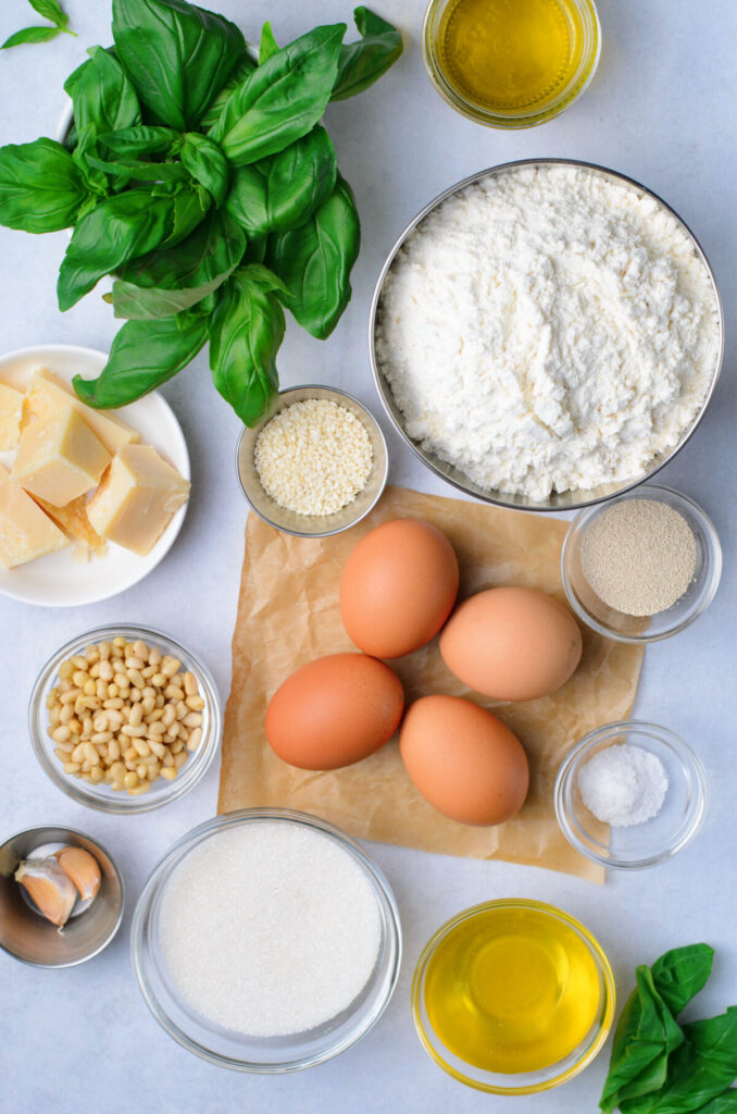Ingredients for the challah bread