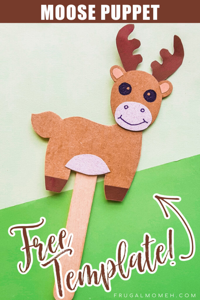 This Papercraft Moose Puppet is an easy kids paperfcraft animal project with a free papercraft template to help you make this kids craft.