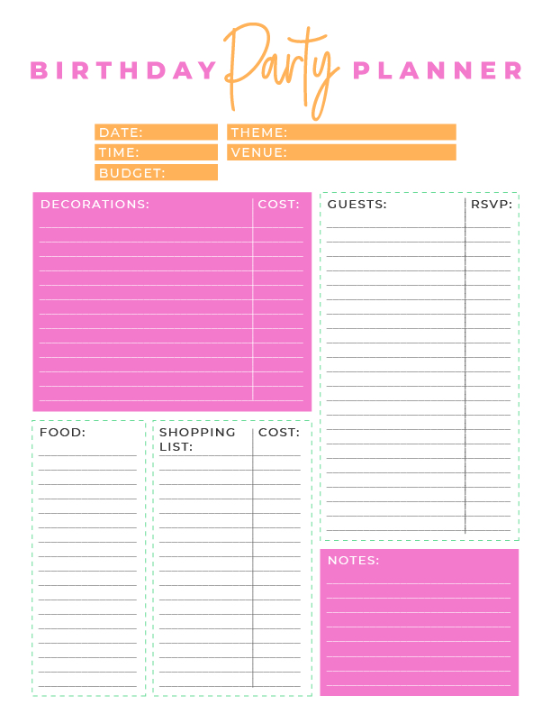 This FREE PRINTABLE Birthday Party Planner & Calendar will take the stress out of organizing any birthday party.
